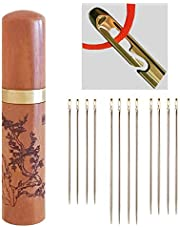 Self-Threading Needles, Needle Threader with Needle case Carving Plum Blossom Pattern, Golden, 12 Pack