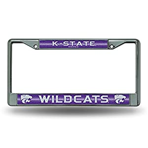 NCAA Kansas State Wildcats Bling Chrome License Plate Frame with Glitter Accent