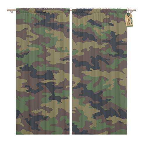 Golee Window Curtain Beige Camouflage Military Army Camo Woodland Hunting Camoflauge Brown Home Decor Rod Pocket Drapes 2 Panels Curtain 104 x 84 inches