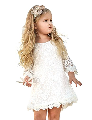 Tkiames Girls Easter Lace Flower Dress Casual Crew Neck Floral A-Line Party Dress]()