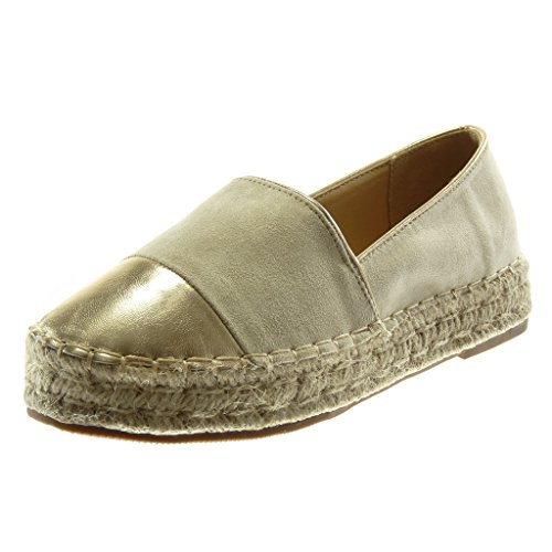 Angkorly Women's Fashion Shoes Espadrilles - Slip-on - Bi Material - Shiny - Cord - Finish Topstitching Seams Block Heel 3 cm Beige