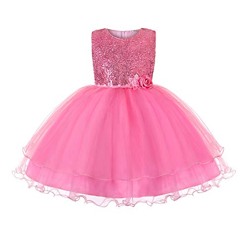 JiaDuo Baby Girl Lace Mesh Tutu Dress Sequin Bow Toddler Princess Gown (7-8 Years, Hot Pink) -