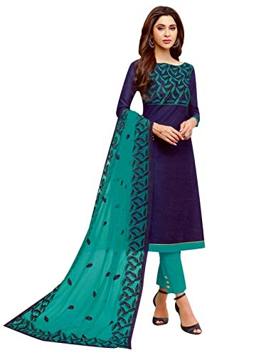 Ladyline Designer Silk Embroidered Salwar Kameez with Embroidered Nett Dupatta Partywear Ready to wear (Size_40/ Navy - Silk Churidar Suit