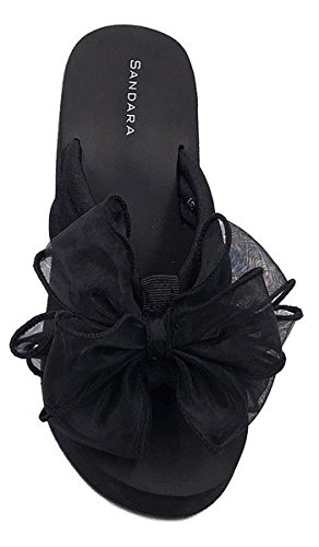 SHU CRAZY Womens Ladies Slip on Toe Post Flip Flop Platform Wedge Summer Beach Sandals Shoes - N29 Black hluio5iuN