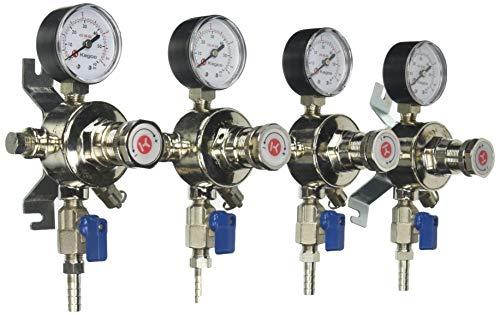 Kegco KC LH-54S-4 Premium Pro Series Four Product Secondary Beer Regulator, Chrome
