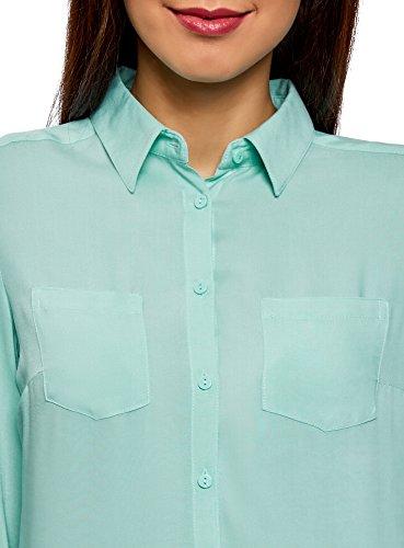 Chemisier oodji 7300n Femme Poitrine Rglables Manches Ultra Turquoise Poches et avec Brrap1Ewgq