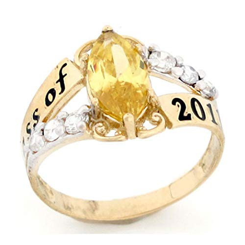 10k Gold Simulated Birthstone 2019 Class Graduation Ring