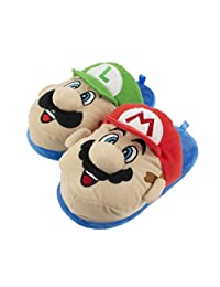 Super Mario Brothers Mario and Luigi Slippers for Kids, Nintendo, Scuff Clog Slip on, Little Kid/Big Kid Sizes 11 to 5