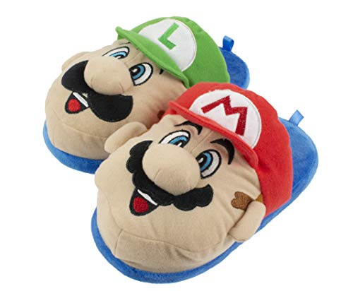 Super Mario Brothers Mario and Luigi Scuff Slipper for Kids, Size 2-3 ()