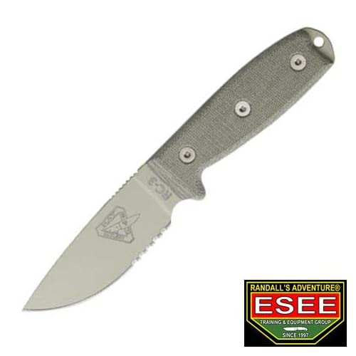 Image of ESEE Knives 3SMDT Part Serrated Desert Tan Blade Model 3 Rounded Pommel Knife with Green Canvas Micarta Handles Fixed Blade Hunting Knives