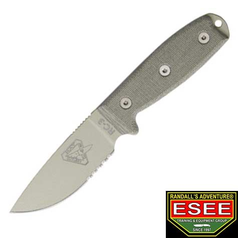 ESEE Knives 3SMDT Part Serrated Desert Tan Blade Model 3 Rounded Pommel Knife with Green Canvas Micarta Handles