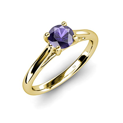 TriJewels Iolite Solitaire Ring 0.95 ct in 14K Yellow Gold.size 5.5 ()