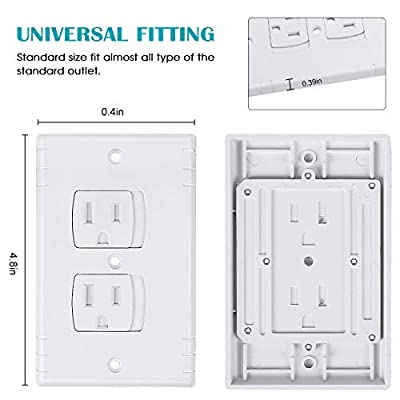 Universal Outlet Cover Baby Proofing, Wall Safety Self-closing Plug Cover Plate Alternate Flame Retardant ABS, BPA Free, 12 PACK.