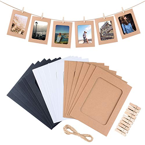 Paper Picture Frame, 30pcs Kraft Photo Frames for 4x6in Photo, Photo Hanging Display Frames for Wall Decoration DIY with 30 Clips and 3 Ropes by -