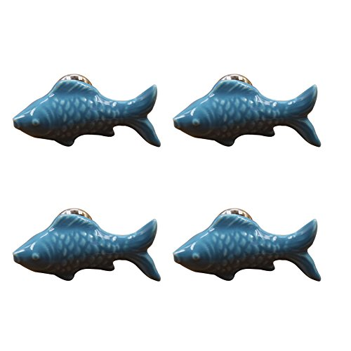 CHUANGLI 4PCS Cute Fish Shape Drawer Handles Dressing Table Door Cabinet Ceramic Knobs Blue