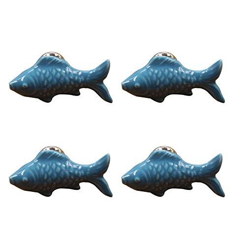 Drawer Fish Knobs (SZTARA 4PCS Lovely Drawer Handles Fish Shape Door Ceramic Knobs Pull Handle for Cabinet Cupboard Dresser Wardrobe Home Decor (Blue))