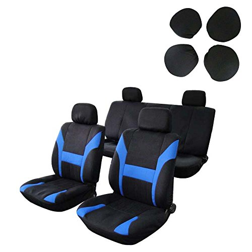 Car Seat Cover,Stretchy Universal Seat Cushion w/Headrest 100% Breathable Automotive Accessories with Durable Washable Polyester for Most Cars Trucks Vans(Black/Blue)