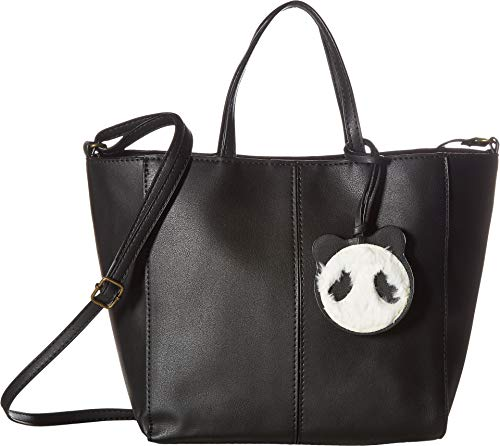 (T-Shirt & Jeans Tote with Plush Panda Dangle,  Black, One Size)