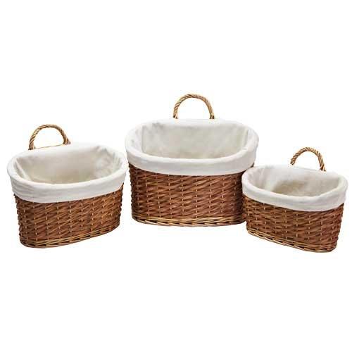 JVL Home/Office Oval Storage Basket with Handle, Set of 3