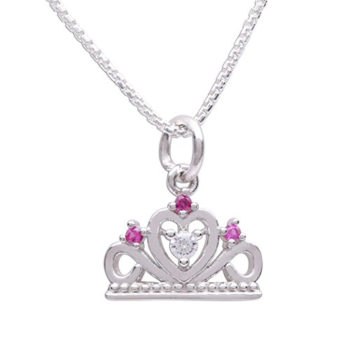 (Children's Sterling Silver Fairy Princess Tiara Necklace, 14