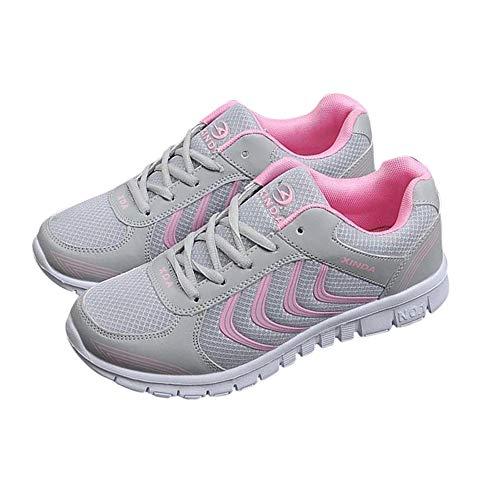 de Malla Ligero Tenis rosa Transpirable Mujer Mujer de Zapatos de gris Zapatillas Zapatos Casuales Fashion Zapatillas Yuehen Femenino Mujer pvxqBq4g