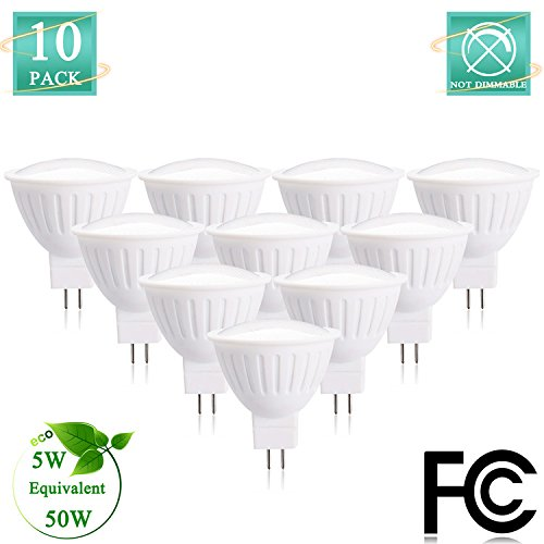 Veg Jar (MR16 LED Bulbs with GU5.3 Base 50W Equivalent incandescent light bulb 4000K Neutral White AC Standard Size 12Volt 500lumen 120Degree Non Dimmable(Pack of 10))