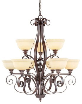 9 Light Chandelier Alabaster Glass (Livex Lighting 6159-58 Manchester 9 Light Two Tier (6+3) Imperial Bronze Chandelier with Vintage Alabaster Glass)