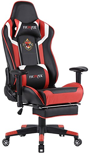 Ficmax High Back Computer Gaming Office Chair Recliner Rocker Tilt E-sports Chair with Lumbar Massager Support & Adjustable Headrest Pillow & Retractable Footrest (Black/Red)