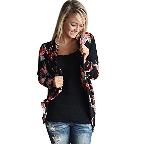 Blackobe Women Light Floral Print Irregular Long Sleeve Cardigans Casual Outwear Tops (S)