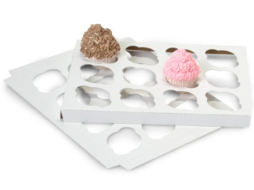 Cupcake Holder 13-15/16x9-15/16x7/8Holds 12 - White/Kraft Rev Insert (1 unit, 100 pack per unit.)