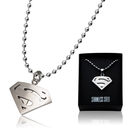 Superman Stainless Steel Diamond Shape Dog Tag Pendant with Ball Chain (SUPMSSP4748WM) -