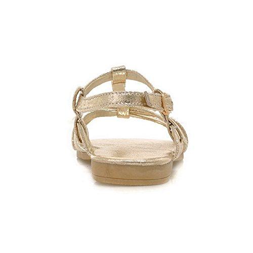 AalarDom Mujer Puntera Abierta Mini Tacón Material Suave Hebilla Sandalias de vestir Gold
