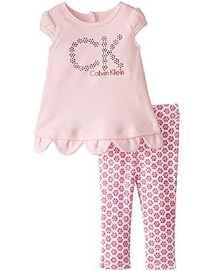 Baby Girls' Pink Tunic Big Logo with Printed Leggings