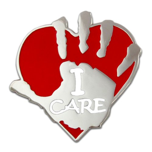 PinMart's I Care Volunteer Heart and Hand Lapel Pin by PinMart