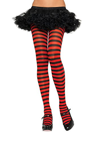 Leg Avenue Women's Nylon Striped Tights, Black/red, One Size ()