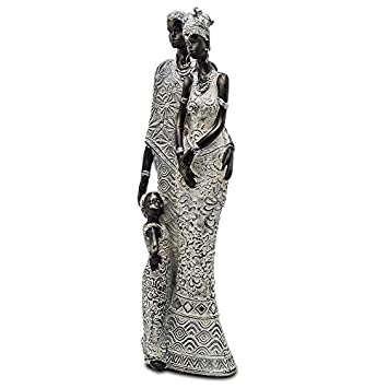 Rockin Statue African Family Figurine Sculpture White Dress Standing Family 3 Figurine Statue Decor Collectible Art Piece 13 Inches Tall – White Dress