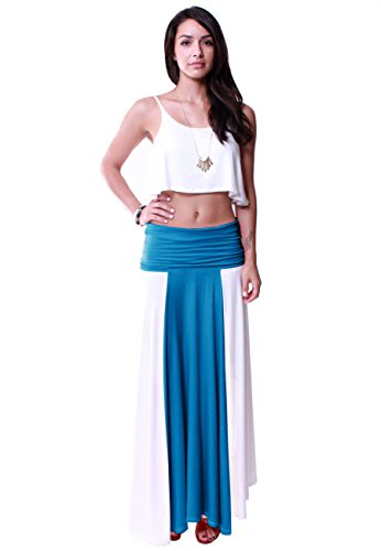 LeggingsQueen Women's Multi Style 2 Tone Color Convertible Dress/Maxi Skirt (Ivory+Teal, Large)