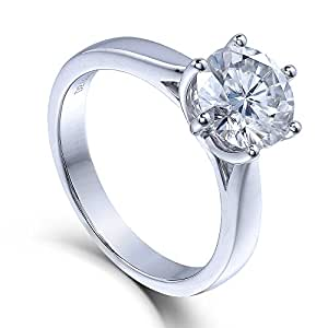 2ct G Near Colorless Moissanite Engagement Brilliant Ring Solid in 14K White Gold by TransGems for Women (6.5)