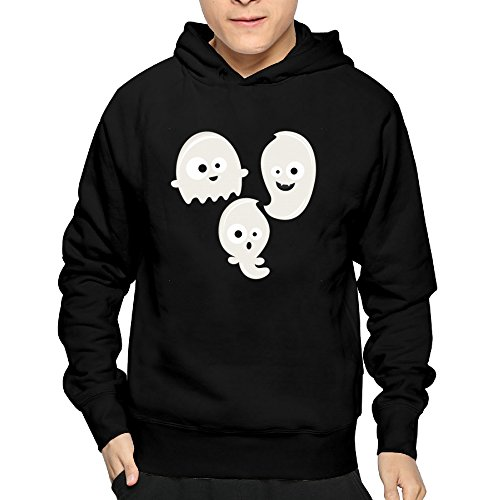 Men's Simple Spooky White Ghosts Hoodie Sweatshirt Funny Pullover -