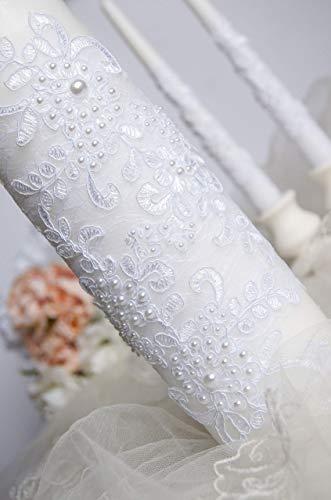 Candle Pearl Unity (White unity candle set Lace wedding unity candle set with pearl Wedding unity idea)
