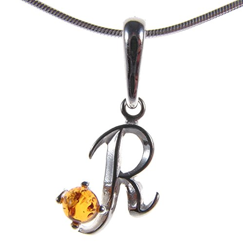 10 12 14 16 18 20 22 24 26 28 30 32 34 36 38 40 1mm ITALIAN SNAKE CHAIN BALTIC AMBER AND STERLING SILVER 925 ALPHABET LETTER R PENDANT NECKLACE