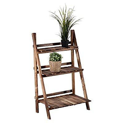 Outsunny Wooden 3-Tier Plant Stand