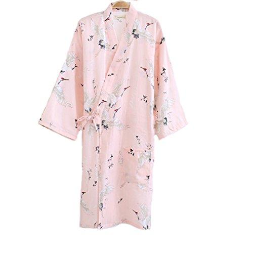 MAYSONG Women's Japanese Robe Cotton Dressing Gown Kimono Pajamas Nightgown ()