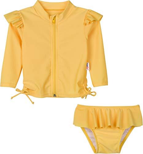 SwimZip Girl Long Sleeve Rash Guard 2 Piece Suit Flutter Love Yellow 18-24 Month