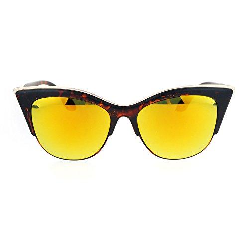 SA106 Womens High Point Squared Half Rim Look Cat Eye Sunglasses Tortoise Orange