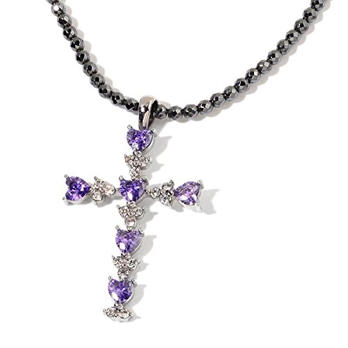 Purple Cubic Zirconia & Austrian Crystal Steel Cross Pendant Necklace with 18