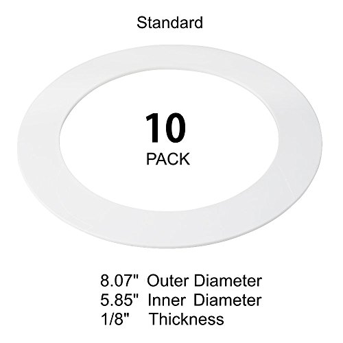 10 Pack White Goof Ring Trim Ring for Recessed Can and 6