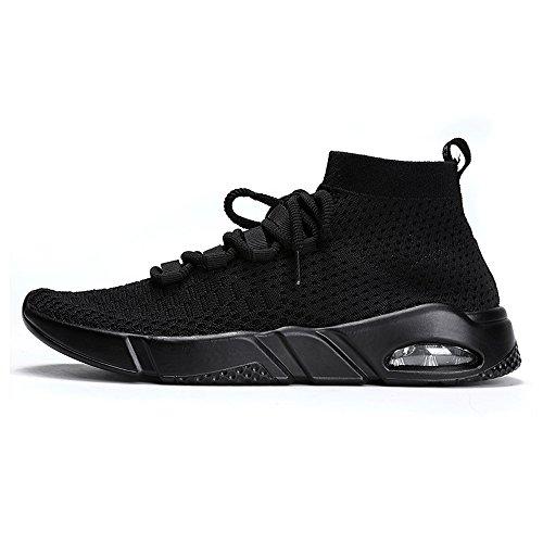 Hombres 2018 Zapatos Deporte de atléticos Zapatos talón de de sólido Color Plano con de Otoño Negro Verano los Cordones Ocio 5nqYxwqfE