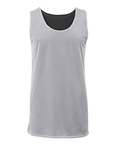 (Silver/Black Adult Small Reversible Mesh Tank Top Jersey Uniform)