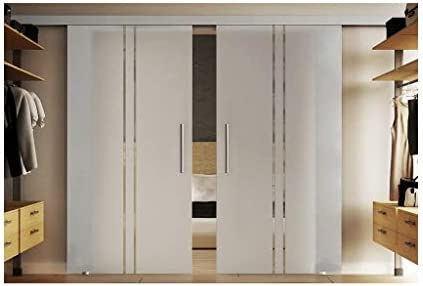 Cristal puertas correderas Interior 2 x 90 x 205 cm en leche de vidrio cristal con tira senkrechten (T) levidor® Easyslide Sistema de Completo. Carril de Barra y asas, Puerta corredera de